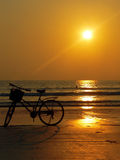 Burma (Myanmar) Bicycle Sunset. At Ngapali Beach royalty free stock photo