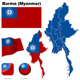 Burma (Myanmar) set. Detailed country shape with region borders, flags and icons isolated on white background Royalty Free Stock Photo