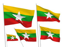 Burma Myanmar vector flags. A set of 5 wavy 3D flags created using gradient meshes. EPS 8 vector Stock Photos