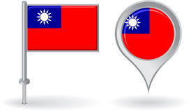 Burma pin icon and map pointer flag. Vector Royalty Free Stock Photography