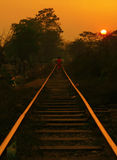 Burma Railway Sunset Stock Photography