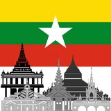 Burma. State flags and architecture of the country. Illustration on white background Stock Photography
