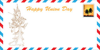 Burma - Union Day. Happy Union Day - Burma. The concept of greeting cards in the format of the mail envelope. Vector illustration. drawing hands Stock Images