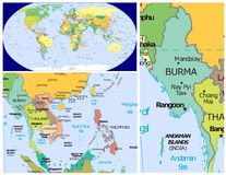 Burma & World. World map and Close up of Burma Stock Photography