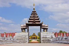 Burmese architecture. Door to the palace of Myanmar royalty free stock images