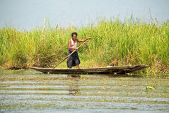 Burmese boatman Stock Photography