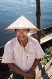 Burmese boatman, Inle Lake royalty free stock photography