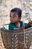 Burmese boy in the basket Stock Photo