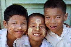 Burmese boys studying in Yangon, Myanmar Royalty Free Stock Images