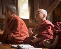 Burmese Buddhist novices in Mandalay Royalty Free Stock Photos
