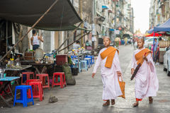 Burmese Buddhist nuns in Chinatown Royalty Free Stock Photos