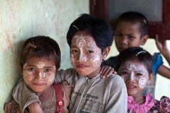 Burmese children royalty free stock photo