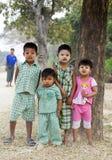 Burmese Children. Standing outside their home in Hanlin in Myanmar Stock Photography