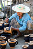 Burmese craftswoman Royalty Free Stock Photo