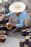 Burmese craftswoman Royalty Free Stock Images