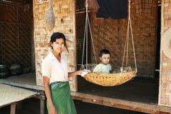 Burmese family Stock Photo