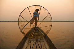 Burmese fisherman Royalty Free Stock Image