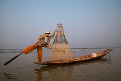 Burmese Fisherman on Inle Lake in Myanmar Stock Image