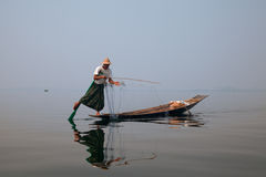 Burmese Fisherman on Inle Lake in Myanmar Stock Photography