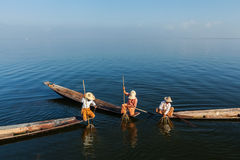 Burmese fisherman at Inle lake, Myanmar stock photos