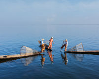 Burmese fisherman at Inle lake, Myanmar stock photo