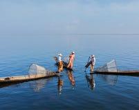 Burmese fisherman at Inle lake, Myanmar Stock Photo