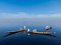 Burmese fisherman at Inle lake, Myanmar Royalty Free Stock Images