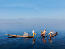Burmese fisherman at Inle lake, Myanmar stock photography