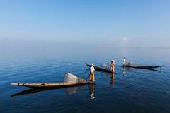 Burmese fisherman at Inle lake, Myanmar royalty free stock image