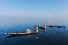 Burmese fisherman at Inle lake, Myanmar Royalty Free Stock Image