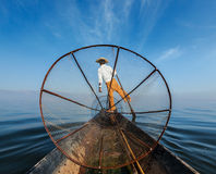 Burmese fisherman at Inle lake, Myanmar Stock Photography