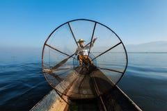 Burmese fisherman at Inle lake, Myanmar Royalty Free Stock Photography