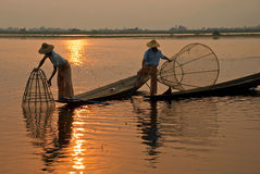 Burmese fishermen Stock Photos