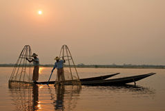Burmese fishermen Royalty Free Stock Photography