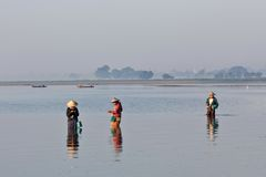 Burmese fishermen Royalty Free Stock Photo
