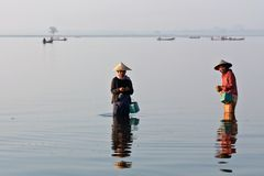 Burmese fishermen Royalty Free Stock Image