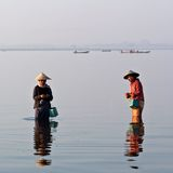 Burmese fishermen Stock Images