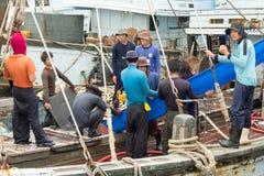 Burmese fishermen Stock Image