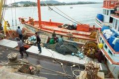 Burmese fishermen Royalty Free Stock Image