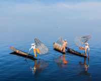 Burmese fishermen at Inle lake, Myanmar royalty free stock image