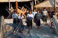 Burmese fishermen Stock Images