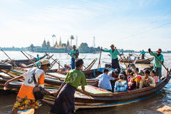 Burmese go to Yelena Paya pagoda by boat. Royalty Free Stock Photo
