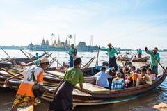 Burmese go to Yelena Paya pagoda by boat. Royalty Free Stock Photo