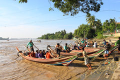 Burmese go to Yelena Paya pagoda by boat. Stock Photo