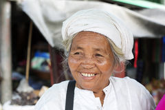 Burmese lady at the market, Myanmar. Royalty Free Stock Photos