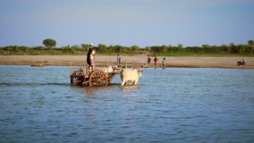 Burmese local people crossing the Irrawaddy river. Myanmar stock video footage