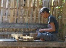 Burmese making handicraft for sale Royalty Free Stock Photo