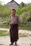 Happy Burmese Man. A Burmese man smiling in his village of Hanlin in Myanmar Royalty Free Stock Photo