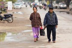 Burmese mature couple walking Stock Photos