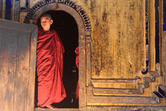 Burmese monk in monastery of Shwe Yan Pyay Stock Images